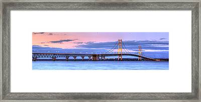 Mackinac Bridge In Evening Framed Print by Twenty Two North Photography