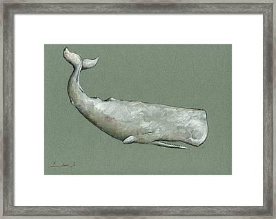 Moby Dick The White Sperm Whale  Framed Print by Juan  Bosco