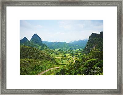 Mountain Valley Framed Print by MotHaiBaPhoto Prints