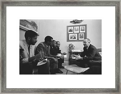 President Lyndon Johnson Meeting Framed Print by Everett