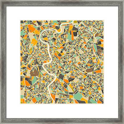 Rome Map Framed Print by Jazzberry Blue