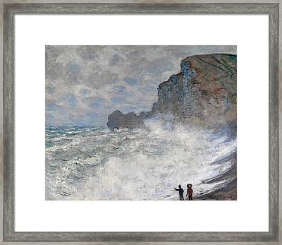 Rough Weather At Etretat Framed Print by Claude Monet