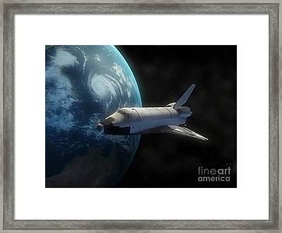 Space Shuttle Backdropped Against Earth Framed Print by Carbon Lotus