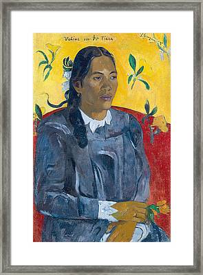 Tahitian Woman With A Flower Framed Print by Paul Gauguin