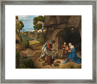 The Adoration Of The Shepherds Framed Print by Giorgione