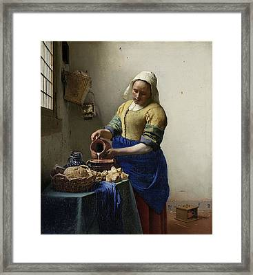 The Milkmaid, 1660 Framed Print by Johannes Vermeer