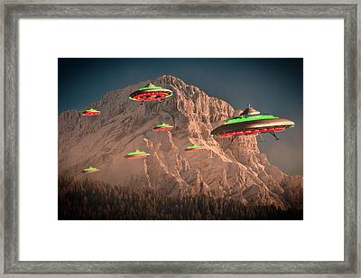 Ufo Invasion Force By Raphael Terra Framed Print by Raphael Terra