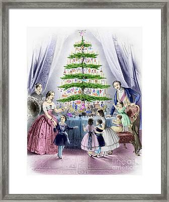 Vintage Christmas Card Framed Print by English School