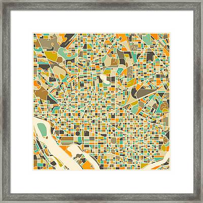 Washington Dc Map Framed Print by Jazzberry Blue