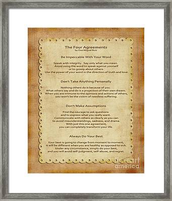 41- The Four Agreements Framed Print by Joseph Keane