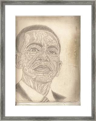 44th President Barack Obama By Artist Fontella Moneet Farrar Framed Print by Fontella Farrar