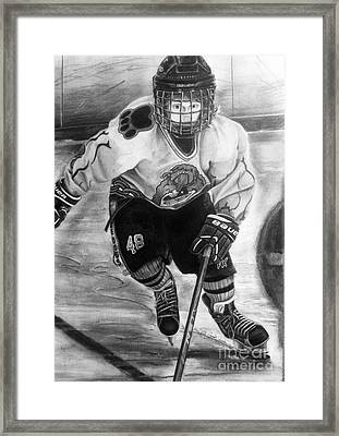 #48 Andrew Savona Squirt Aa Hatfield Ice Dogs Framed Print by Gary Reising
