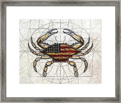 4th Of July Crab Framed Print by Charles Harden