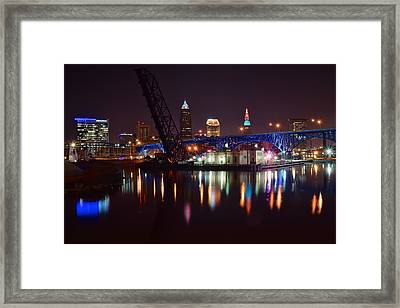 Cleveland Over The Cuyahoga Framed Print by Frozen in Time Fine Art Photography