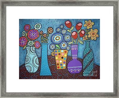 5 Flower Pots Framed Print by Karla Gerard