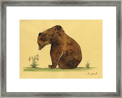 Grizzly Bear Watercolor Painting Framed Print by Juan  Bosco