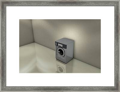Industrial Washer In Empty Room Framed Print by Allan Swart