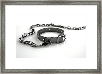 Leather Studded Collar And Chain Framed Print by Allan Swart