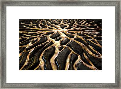 Molten Gold Seeping Out Of Rock Framed Print by Allan Swart