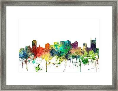 Nashville Tennessee Skyline Framed Print by Marlene Watson