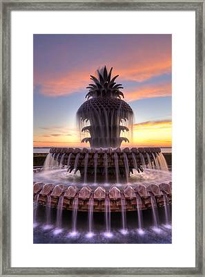 Pineapple Fountain Charleston Sc Sunrise Framed Print by Dustin K Ryan