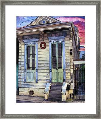 5  Shotgun House With Red Wreath Framed Print by John Boles