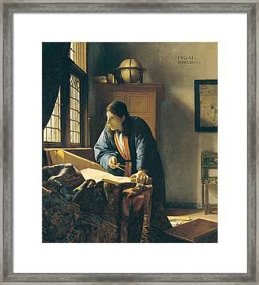 The Geographer Framed Print by Johannes Vermeer