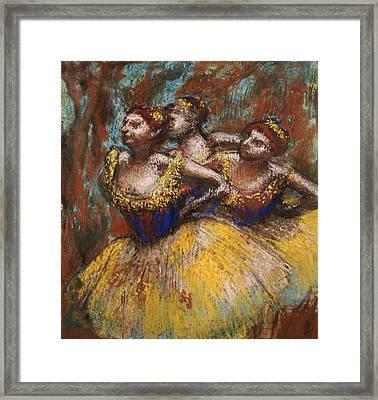 Three Dancers Framed Print by Edgar Degas