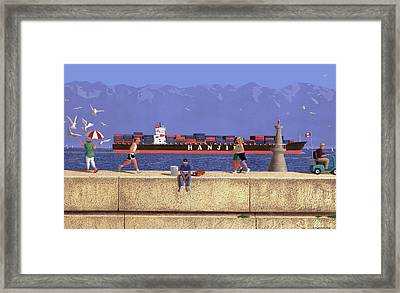 Victoria Breakwater In July Framed Print by Neil Woodward