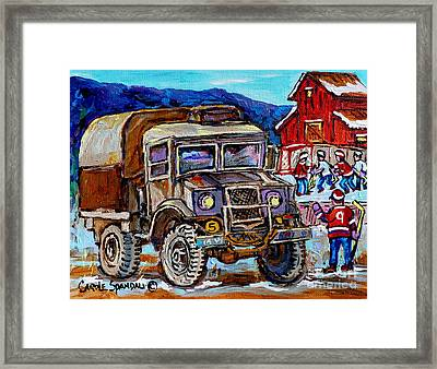 50's Dodge Truck Red Wood Barn Outdoor Hockey Rink  Art Canadian Winter Landscape Painting C Spandau Framed Print by Carole Spandau