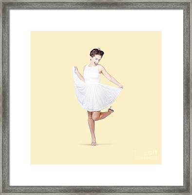 50s Pinup Woman In White Dress Dancing Framed Print by Jorgo Photography - Wall Art Gallery