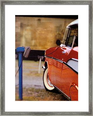 57 Chevy At The Drive-in Framed Print by Robert Ponzoni