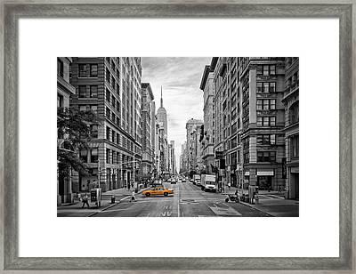 5th Avenue Yellow Cab - Nyc Framed Print by Melanie Viola