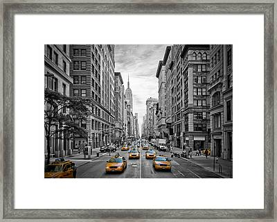 5th Avenue Yellow Cabs - Nyc Framed Print by Melanie Viola