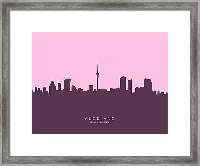 Auckland New Zealand Skyline Framed Print by Michael Tompsett