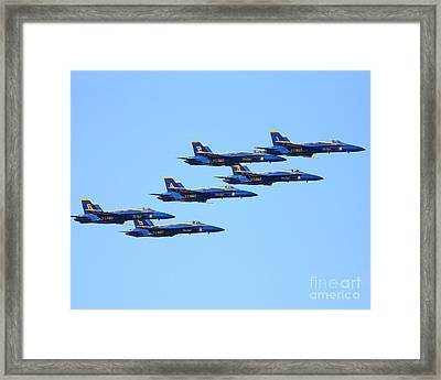 6 Blue Angels Jetting Through The Sky Framed Print by Wingsdomain Art and Photography