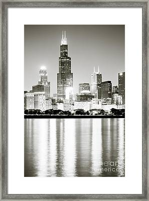 Chicago Skyline At Night Framed Print by Paul Velgos