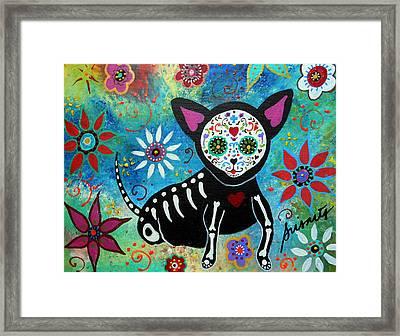 Chihuahua Dia De Los Muertos Framed Print by Pristine Cartera Turkus