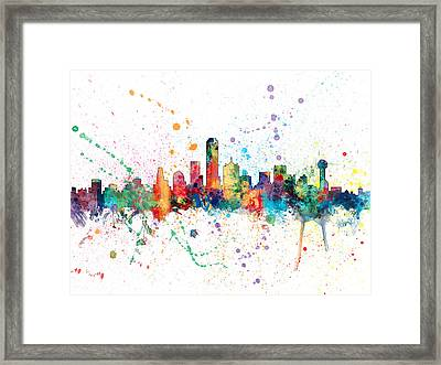 Dallas Texas Skyline Framed Print by Michael Tompsett