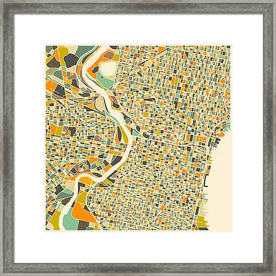 Philadelphia Map Framed Print by Jazzberry Blue