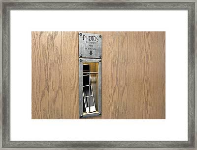 Vintage Photo Booth Pickup Slot Framed Print by Allan Swart