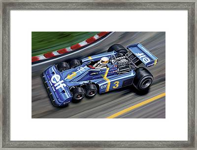 6 Wheel Tyrrell P34 F-1 Car Framed Print by David Kyte