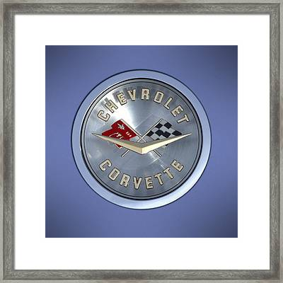 60 Chevy Corvette Emblem  Framed Print by Mike McGlothlen