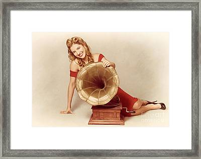 60s Pin Up Girl With Vintage Record Phonograph Framed Print by Jorgo Photography - Wall Art Gallery