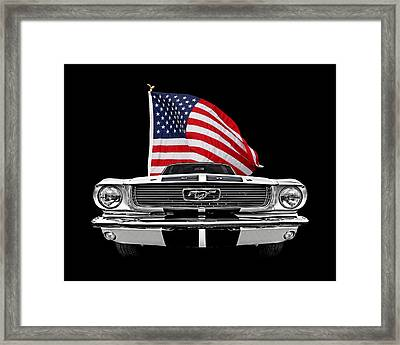 66 Mustang With U.s. Flag On Black Framed Print by Gill Billington