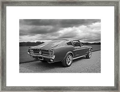 67 Fastback Mustang In Black And White Framed Print by Gill Billington
