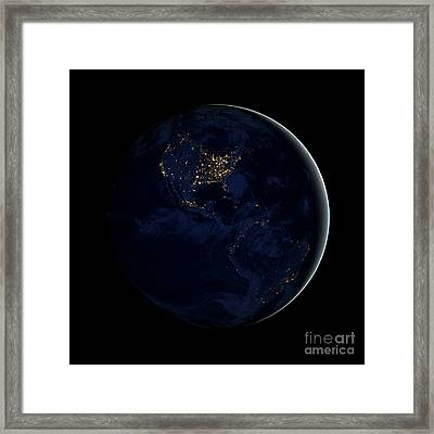 Full Earth At Night Showing City Lights Framed Print by Stocktrek Images