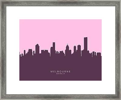 Melbourne Skyline Framed Print by Michael Tompsett