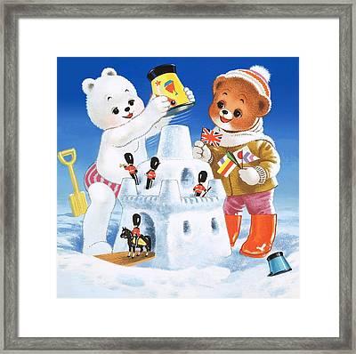 Teddy Bear Christmas Card Framed Print by William Francis Phillipps
