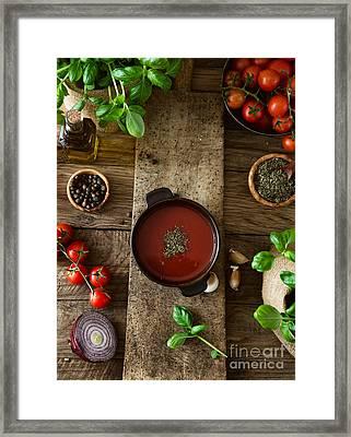 Tomato Soup Framed Print by Mythja Photography